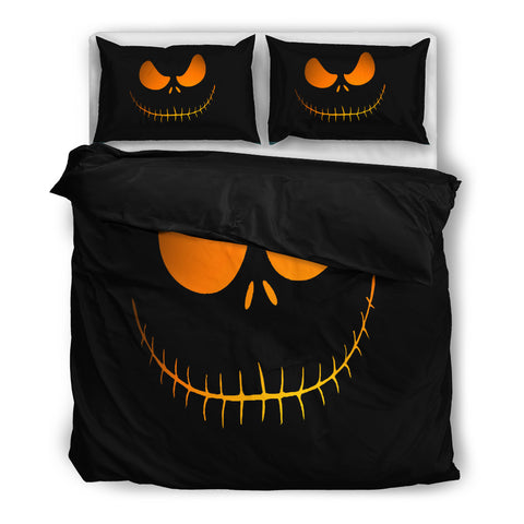 Queen Bed, King Bed, and Twin Bed - Nightmare Before Christmas Bedding Sets - Jack Skellington's Evil Face 3-Piece Bedding Set in Black