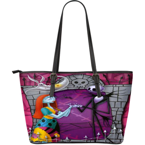 Jack Skellington & Sally Graphic Print Women's Leather Tote Bag in Purple