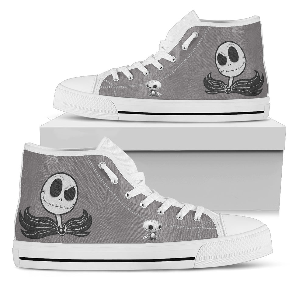 Jack Skellington Spooky Face Women's High Top Canvas Sneakers in Gray