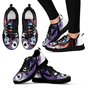 Nightmare Before Christmas Running Shoes - Jack Skellington & Sally Women's Lace Up Sneakers in Black & Purple