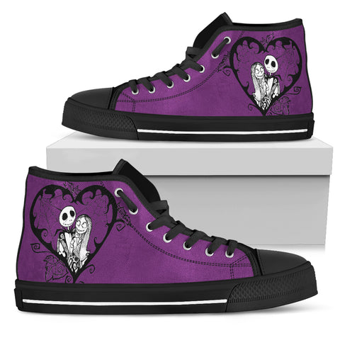 Nightmare Before Christmas Shoes - Jack Skellington & Sally Romantic Women's High Top Canvas Sneakers in Black & Purple