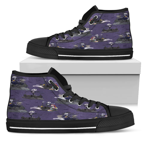 Nightmare Before Christmas Shoes - Jack Skellington & Sally Pumpkin Patch Women's High Top Canvas Sneakers in Purple