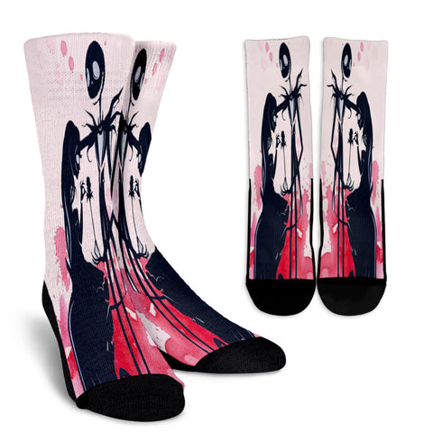 Jack Skellington & Sally Sakura Blossom Casual Crew Socks in Pink