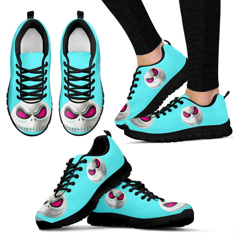 Nightmare Before Christmas Running Shoes - Jack Skellington Spooky Face Women's Lace Up Sneakers in Vibrant Blue