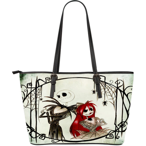 Jack Skellington & Sally Creepy Creature Women's Leather Tote Bag in White