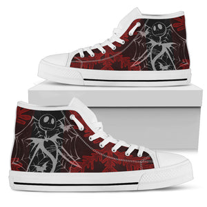 Jack Skellington Spider Web Women's High Top Canvas Sneakers in Red