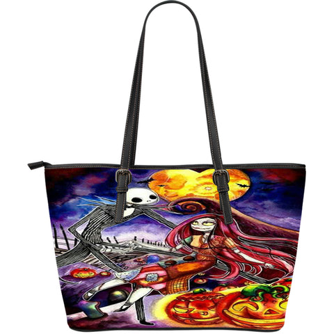 Jack Skellington & Sally in the Pumpkin Patch Women's Leather Tote Bag in Black