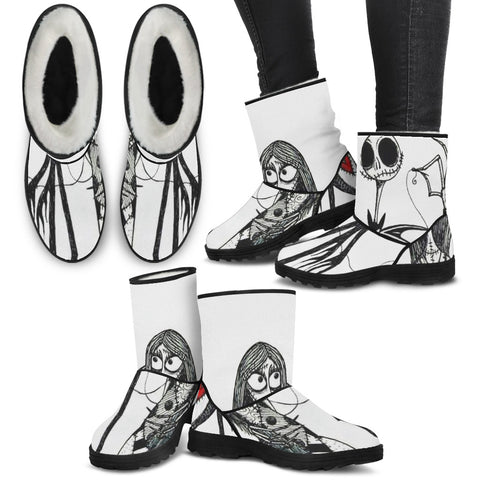 Love Together Jack & Sally !! Jack Skellington Faux Fur Boots