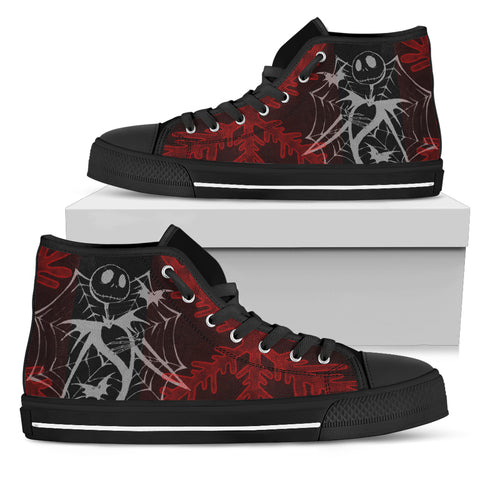 Nightmare Before Christmas Shoes - Jack Skellington Spider Web Women's High Top Canvas Sneakers in Red