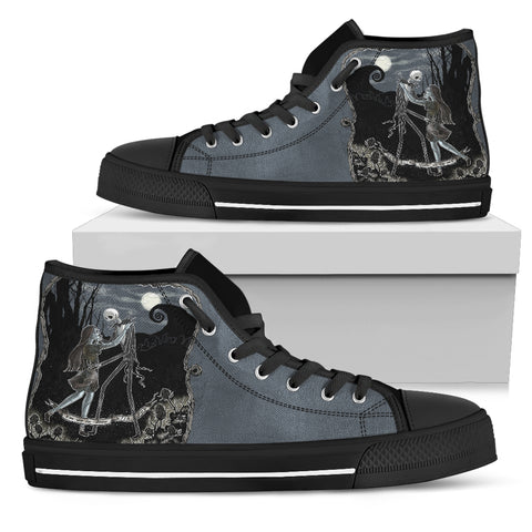 Nightmare Before Christmas Shoes - Jack Skellington Moonlight Romance Women's High Top Canvas Sneakers in Dark Gray
