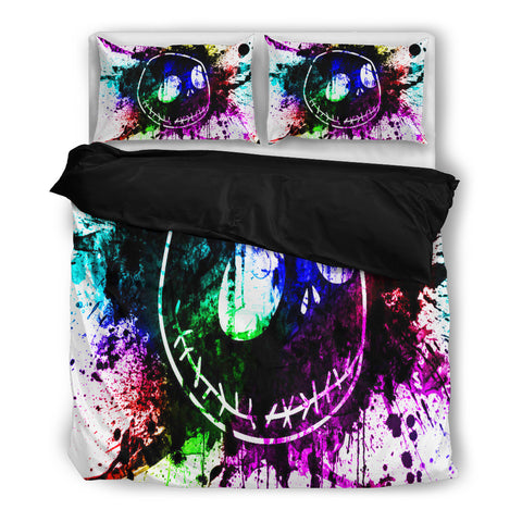 Queen Bed, King Bed, and Twin Bed - Nightmare Before Christmas Bedding Sets - Jack Skellington Splash Colorful Paint 3-Piece Bedding Set