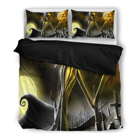 Jack Skellington Scary Jack-o-Lantern 3-Piece Bedding Set in Black