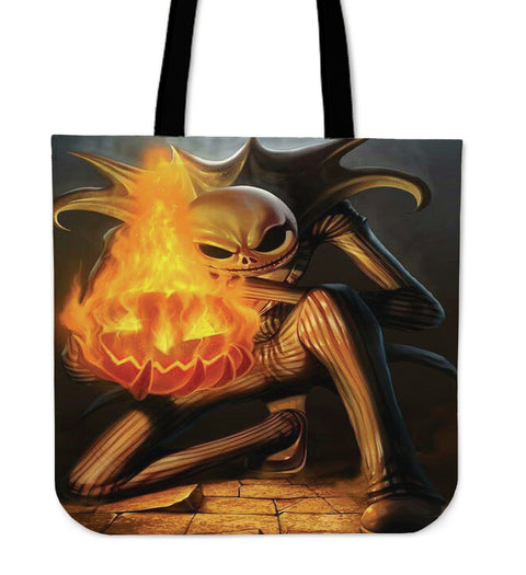 Jack Skellington with Flaming Pumpkin Women's Canvas Tote Bag in Black