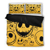 Queen Bed, King Bed, and Twin Bed - Nightmare Before Christmas Bedding Sets - Jack Skellington Smiley Face Print 3-Piece Bedding Set in Yellow