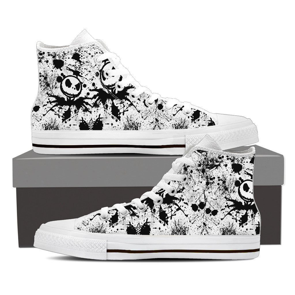 Nightmare Before Christmas Shoes - Jack Skellington Splatter Women's High Top Canvas Sneakers in White