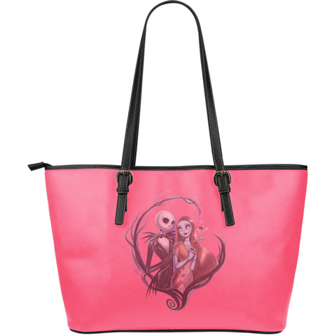 Jack Skellington & Sally Feminine Women's Leather Tote Bag in Pink