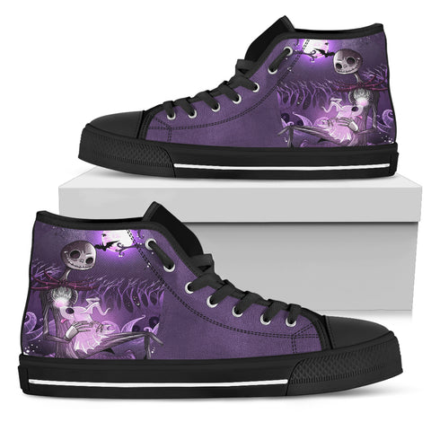 Nightmare Before Christmas Shoes - Jack Skellington and Zero Women's High Top Shoes