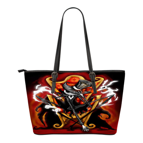 Jack Skellington Fights in Style Women's Leather Tote Bag in Red