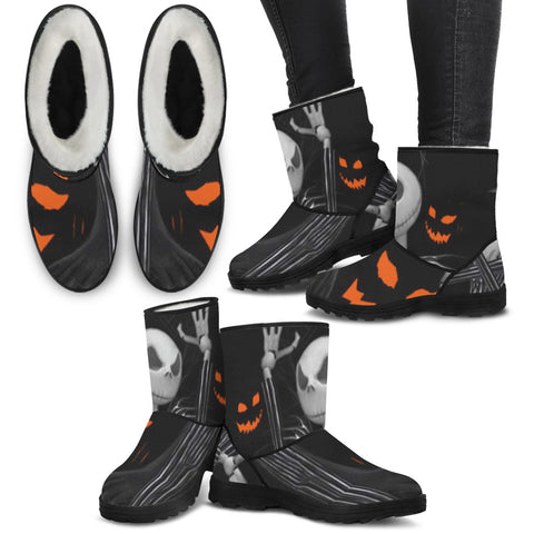 Jack Skellington Halloween Eyes Women's Suede Faux Fur Boots in Black