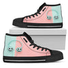 Jack Skellington Music Lover Women's High Top Canvas Sneakers in Pink & Blue