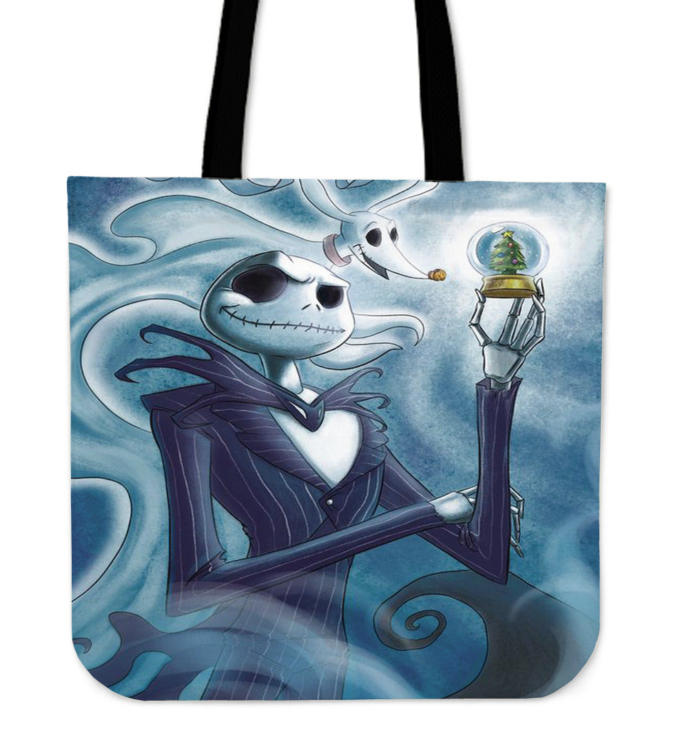 Jack Skellington & Zero by Sally Women's Canvas Tote Bag in Blue