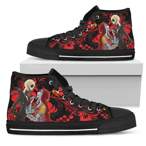 Nightmare Before Christmas Shoes - Jack Skellington & Sally are In Love Women's High Top Canvas Sneakers in Red