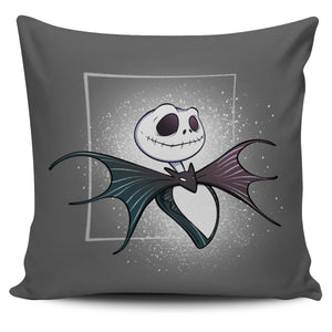 Jack Skellington Portrait Decorative Throw Pillow Covers in Dark Gray