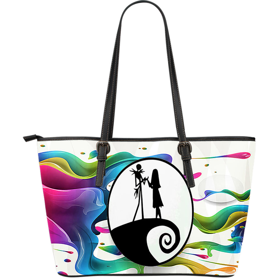 Jack Skellington & Sally Rainbow PU Leather Tote Bag in White