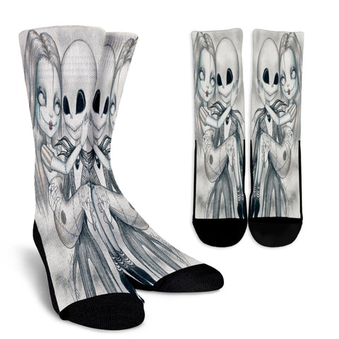 Jack Skellington & Sally Sketch Art Casual Crew Socks in White