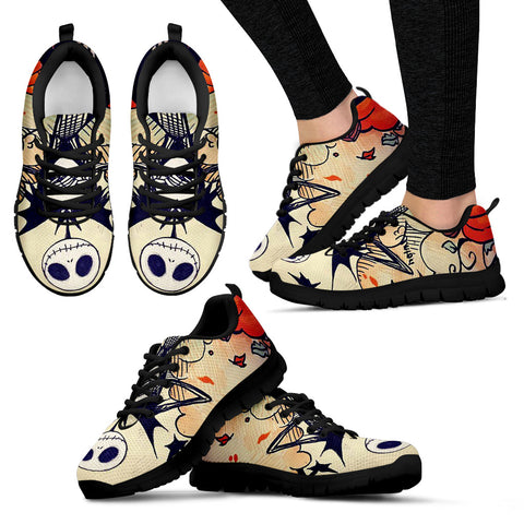 Nightmare Before Christmas Running Shoes -  Jack Skellington Comic Art Women's Lace Up Sneakers in Beige