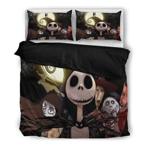 Jack Skellington Nightmare Before Christmas & the Gang 3-Piece Bedding Set in Black