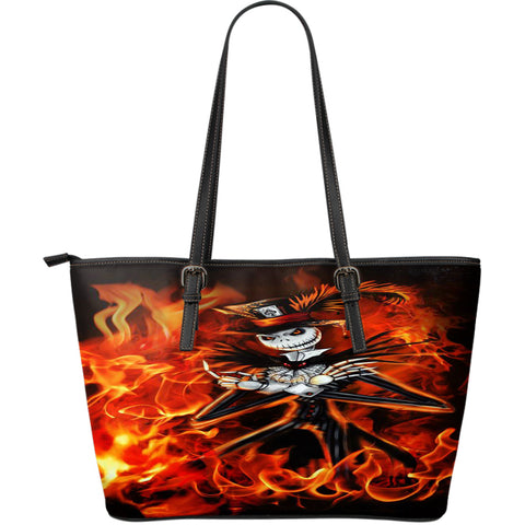 Jack Skellington Is On Fire Women's Leather Tote Bag in Red