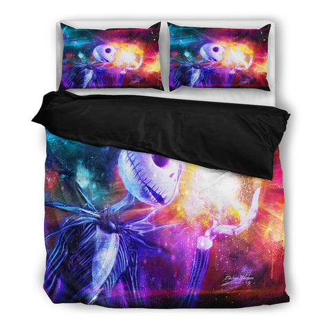 Queen Bed, King Bed, and Twin Bed - Nightmare Before Christmas Bedding Sets - Jack Skellington Colorful Galaxy Pattern 3-Piece Bedding Set in Purple