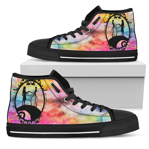 Nightmare Before Christmas Shoes - Jack Skellington & Sally Rainbow Romance Women's High Top Canvas Sneakers