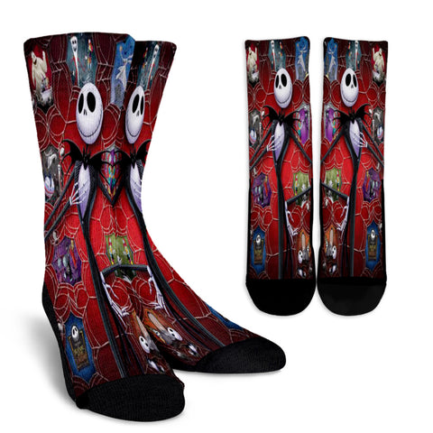 Jack Skellington Caught in a Web Casual Crew Socks in Red