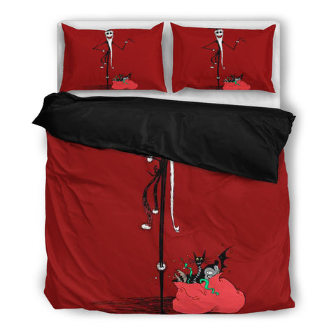 Jack Skellington's a Festive Santa Clause 3-Piece Bedding Set in Red