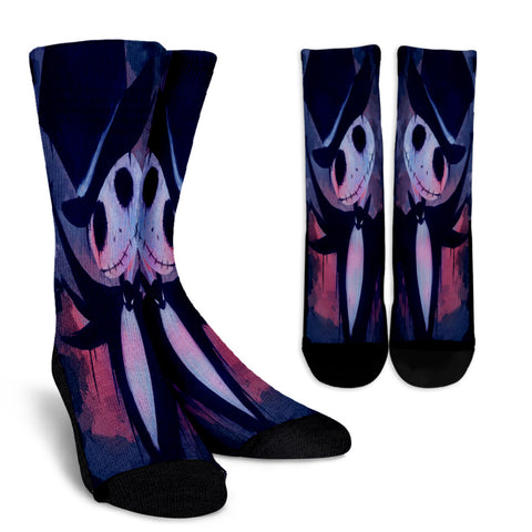 Jack Skellington Watercolor Magician Casual Crew Socks in Purple