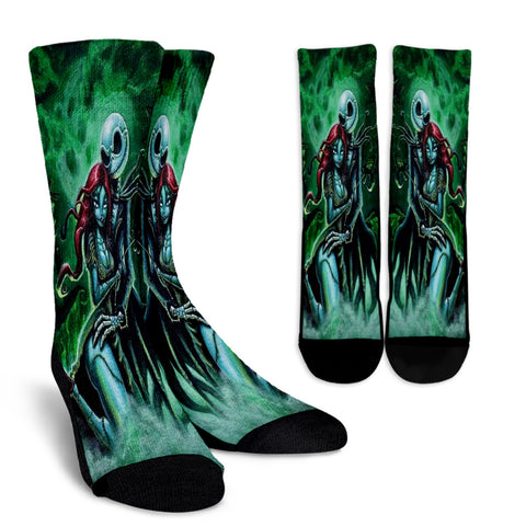 Jack Skellington & Sally Lovers Casual Crew Socks in Green