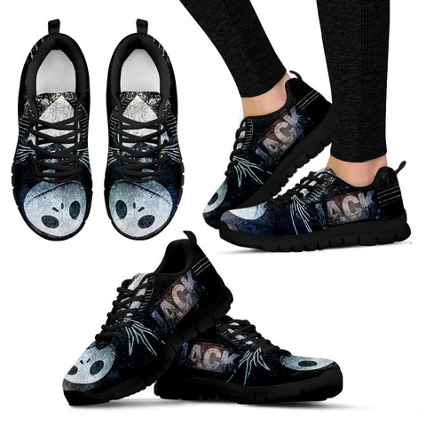 Nightmare Before Christmas Running Shoes - Jack Skellington Over the Moon Women's Lace Up Sneakers in Black