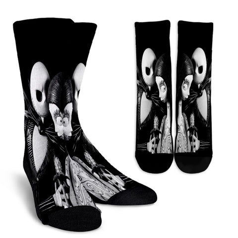 Jack Skellington & Sally Monochromatic Casual Crew Socks in Black & White