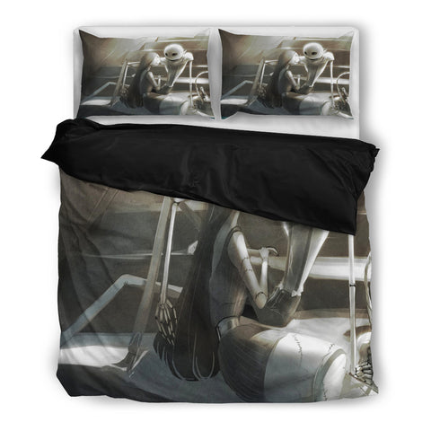 Queen Bed, King Bed, and Twin Bed - Nightmare Before Christmas Bedding Sets - Jack Skellington & Sally Romantic Moment 3-Piece Bedding Set in Gray
