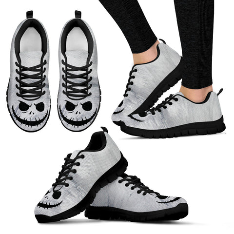 Nightmare Before Christmas Running Shoes - Jack Skellington Evil Smile Women's Lace Up Sneakers in Light Gray