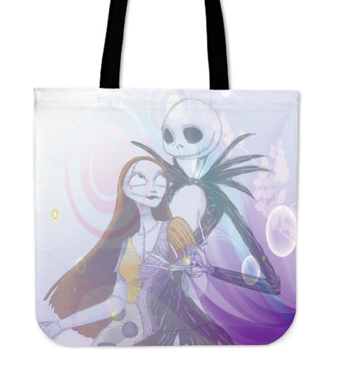 Jack Skellington & Sally Romance Artwork Women's Canvas Tote Bag in Lavender