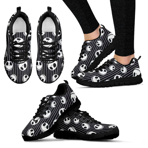 Nightmare Before Christmas Running Shoes - Jack Skellington Stripes Emoji Women's Lace Up Sneakers in Black