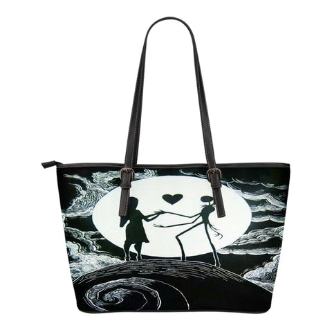 Jack Skellington & Sally Over the Moonlight Leather Tote Bag in Black