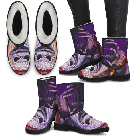 Jack Skellington Evil Santa Clause Suede Faux Fur Boots in Purple