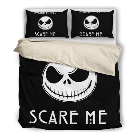 Queen Bed, King Bed, and Twin Bed - Nightmare Before Christmas Bedding Sets - Jack Skellington Scare Me 3-Piece Bedding Set in Black