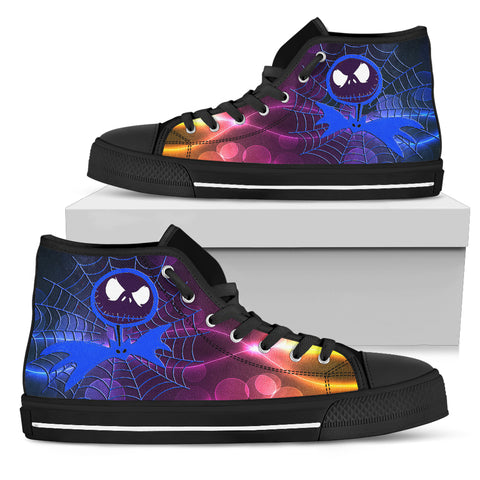 Jack Skellington Rainbow Web Skull High Top Canvas Sneakers in Black