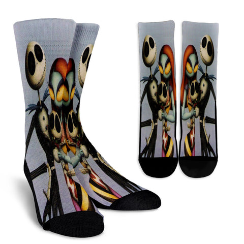 Jack and Sally with Baby - Jack Skellington Crew Socks