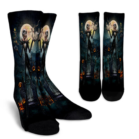 Jack Skellington Over the Moonlight Casual Crew Socks in Black